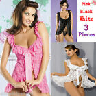 Adult Bridal Lingerie Sexy White/Black/Pink Babydoll Sleepwear Mini Dress