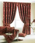 BURGUNDY CURTAINS THICK HEAVY WEIGHT CHENILLE TAPESTRY PERIOD STYLE PAIR