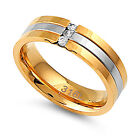 316L Stainless Steel Ring -Two-Tone w/ Clear CZ - Size : 7-12