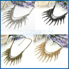 4Color Womens Vintage Metallic Punk Spike Rivets Fringe Chain Statement Necklace