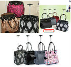 LADIES EXPANDABLE TROLLEY FLIGHT BAG HANDBAG SHOPPING BLACK MOTIF LEOPARD GREY