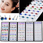 40pcs Wholesale mixed colors Lure Crystal silver Earrings Stud With Box kj1247