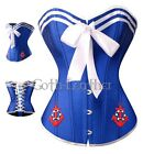 Sexy Blue Sailor Role Play Corset Bustier Size S-2XL with Sailor Pin  A2955_blue