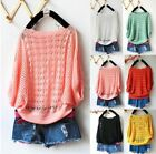 New Women Girls Candy Sweet Colors Hollow Loose Knitting Knit Jumper SweaterZ151