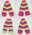 Baby Girls Rainbow Striped Style Leg Warmer Legging with Various Colorful Ruffle