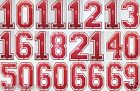 FABRIC SEQUIN RED PAIR FOOTBALL NUMBER IRON-ON DIY BLING TSHIRT TRANSFER PATCH