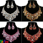 Charm Necklace earrings New Crystal Diamante Wedding Bridal Jewellery Set BLING