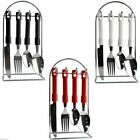 BRAND NEW 24 PC PIECE CUTLERY TAFA SET WITH WIRE STAND WHITE BLACK RED CREAM