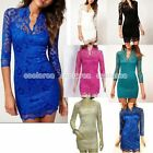 Women Sexy Lace Sheer V-Neck 3/4 Sleeve Slim Party Mini Dress OL Casual Clubwear