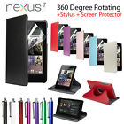 Leather 360 Degree Rotating Cover Case Stand for Asus Google Nexus 7 Sleep Wake