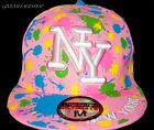 Paint Splash Pink Flat peak caps, Baseball NY multi fitted hats, bling, retro