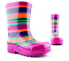 KOZI KIDZ Purple and Ochre Striped Girls Wellies Wellington Boots