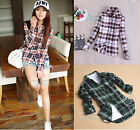 Women Button Down Lapel Shirt Plaids & Checks Flannel Shirts Tops Blouse C39