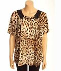Victoria Leopard Top M/L Beaded Brown Black Animal Med Lg XL XXL Blouse Shirt