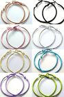 Pair of 1 1/2 inch Shiny Colored Steel Hoop Earrings with Latch Lever Closure