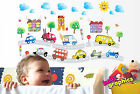 Cars wall decals,  fire truck,  police car,  ice cream van,  bus,  vehicles removable