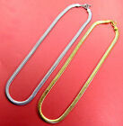 VoE Boutique 18k Yellow Gold IP / 316L Stainless Steel Flat Snake Necklace 7.7mm