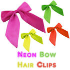 Neon Bow Hair Clip 80's Fancy Dress Tu Tu Hen Night Fun Run Retro Ladies Girls