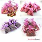 Various types of dried flowers in bags -potpourri, confetti, moth repellant