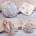 natural mother of pearl conch seashell 18k gold plated pendant square flower