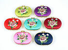 Oval Embroidered Flower Folding Compact Cosmetic Dual Mirror (various colours)