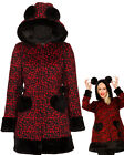 BLACK RED LEOPARD FUR COAT JACKET VINTAGE PUNK ROCK EMO GOTH ROCKABILLY PIN UP