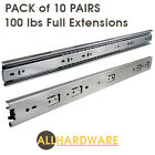 "Pack of 10 pairs 10"" - 24"" Ball Bearing Full Extension Drawer Slides"