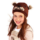 Winter Hat- Girls Animal Beanie Hat with Pom Poms or with Flower - Trapper Hat