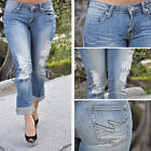 Light Blue Ripped destroyed Capris Jeans by Machine Jeans STC110101