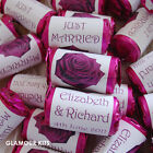 PERSONALISED LOVE HEART SWEETS WEDDING FAVOURS ROSE FLOWER 20 - 500 any colours
