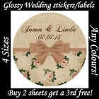 Personalised VINTAGE Style WEDDING Stickers - Antique Rose Labels Seals Favours