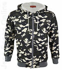 New Mens Camouflage Hooded Jacket Fleece lined Camo Top Army Grey S M L XL