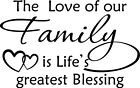 The Love of our Family Vinyl Wall Home Decor Decal Quote Inspirational Adorable