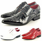 Mens Leather Lined Pointed Winkle Pickers Brogue Patent Shoes Boots UK Sz 6-12