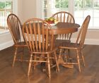 Amish Country Pedestal Dining Table Set Chair Traditional Wood Oak Furniture