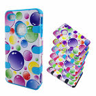 For iPhone 4S 4 Hybrid Case Impact Cover Skin Rainbow Bubbles Silicone  B93