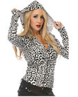 NEW WHITE HOODED CARDIGAN LEOPARD ROCKABILLY 50S GOTH PUNK TATTOO VINTAGE PIN UP