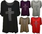 NEW WOMENS PLUS SIZE CROSS STUD TURN UP SLEEVE TUNIC LADIES SUMMER TOPS 14-28