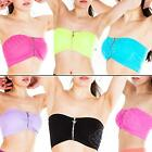 New Womens Ladies Zip Bra Boobtube Padded Bandeau Stretch Bras Crop Top Size S M