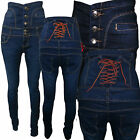 LADIES COW BOY SKINNY RIPPED JEANS LADIES DUNGAREE HIGH WAIST SLIM FIT TROUSER