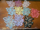 EMBROIDERED SHEER BUTTERFLIES APPLIQUE 2.75X3.75 Beads 1pc