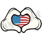 Heart Hands with Flag  I Love America  Tshirt    Sizes/Colors