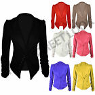 LADIES WOMEN'S LONG RUCHED SLEEVE BUTTON BLAZER SLIM FIT JACKET COAT SIZE 8-14