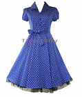 50's TEA party SMALL POLKA DOT vintage DRESS BLUE & WHITE UK SIZE 8-18