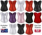 Overbust Corsets Top Bustier Lingerie Bridal Satin Rhinestone Cincher Steampunk