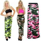 New Womens Ladies Bodycon Camo Camouflage Print Long Tube Gypsy Maxi Skirt Dress
