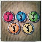 "5 Colorful Cheer 1"" Button Embellishments for bows and other crafts"