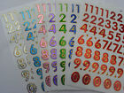 SHEET SHINY FOIL STICKERS NUMBERS NUMERACY - 1.5 CMS - 60 + PIECES