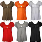 Womens Ladies Plus Size Scoop Neck Short Sleeve Flared Long Plain Top 14- 28