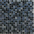 """Glass/Stone Mosaic Tile Sheet, 5/8""""x5/8"""", Silver Glass / Nero Marquina Marble"""